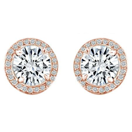 Diamond Cut 14k Rose - IGI Certified 0.60 Cttw Round Cut Natural Diamond Halo Engagement Earrings 14k Solid Rose Gold