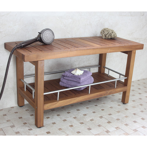 Aqua Teak Teak and Stainless Steel Spa Bench with Shelf