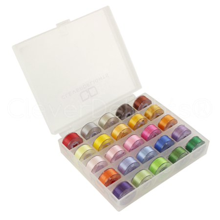 25 Pack - CleverDelights Colored Prewound Bobbins Set with Case - 60wt - Size A (Class 15) Bobbins