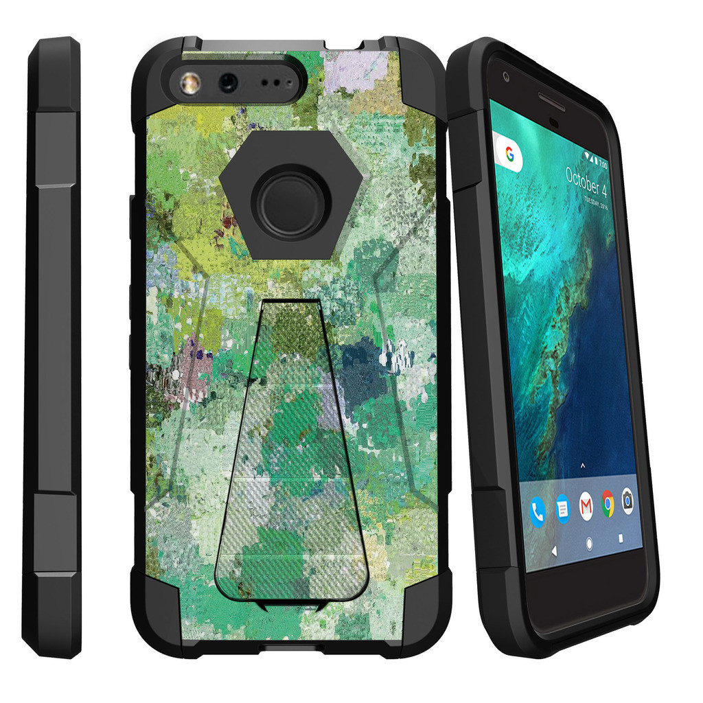Google Pixel XL , Pixel XL Cover Shock Fusion Heavy Duty Dual Layer Kickstand Case -  Enveloping Green