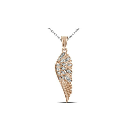 10K Rose Pink Gold Angel Feather Wing Pendant Necklace with Accent Diamonds and Chain