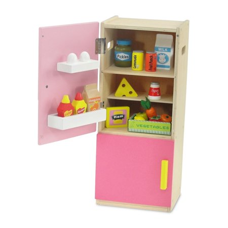 18-inch Doll Furniture | Brightly Colored Pink Wooden Refrigerator with Freezer, Includes 20 Colorful Wooden Food Accessories | Fits American Girl Dolls