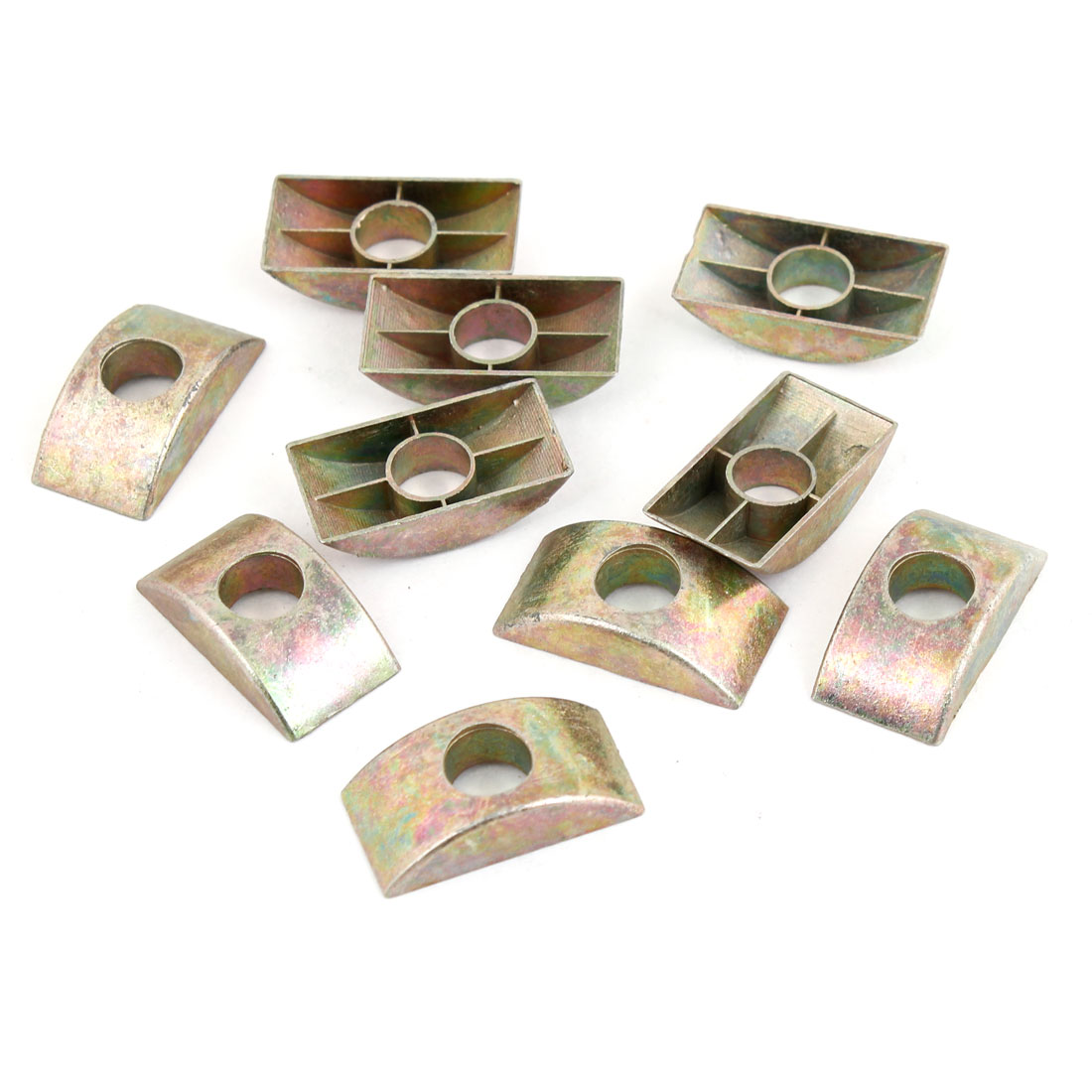 10 X Bronze Tone 8.5mm Hole Furniture Connector Half Moon Nuts