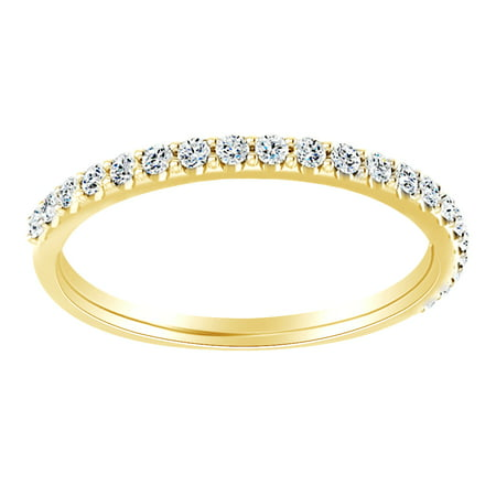 Round Cut White Natural Diamond Half Eternity Band Ring In 14K Solid Yellow Gold (0.12 Ct)