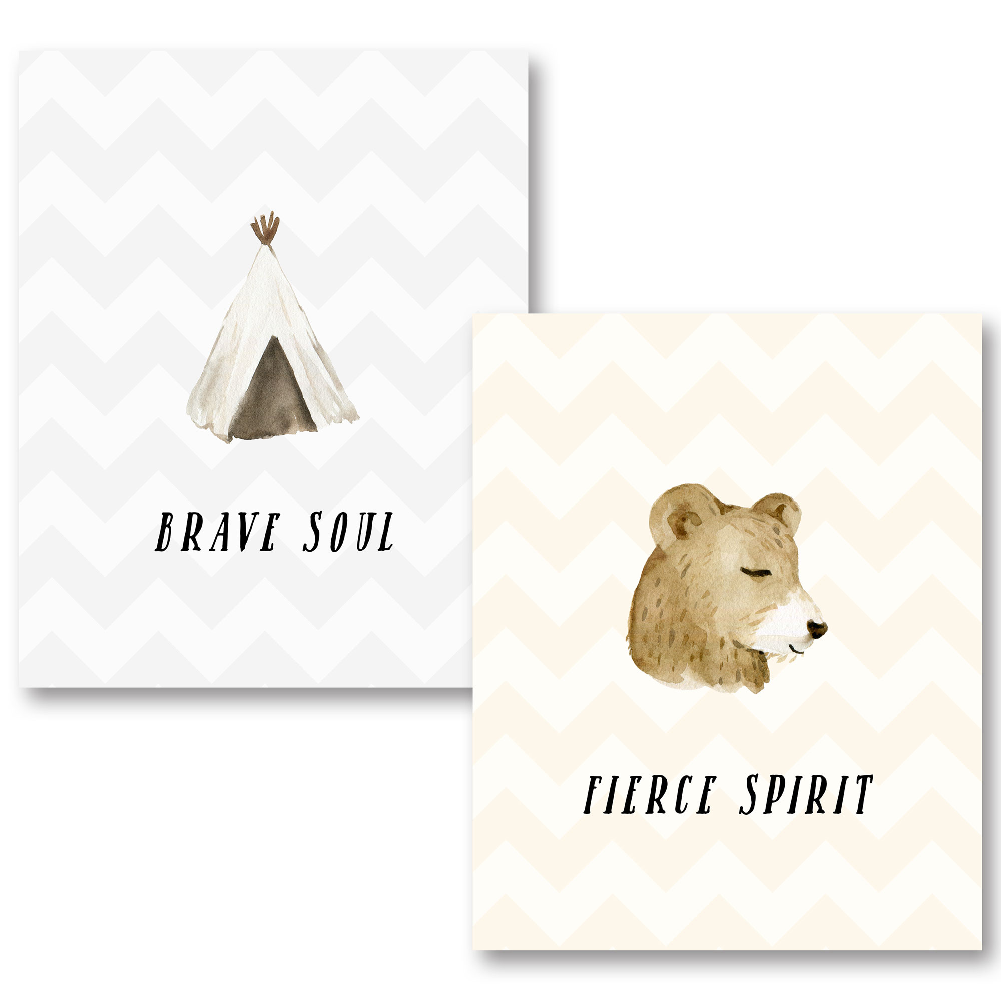 Adorable Bear and Tipi Brave Soul and Fierce Spirit Chevron Set; Two 11x14in Unframed Paper Posters