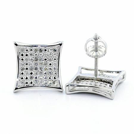 - 0.15cttw Diamond Kite Earrings Pave Set 10.5mm Wide Big Stud Earrings Screw Back Sterling Silver