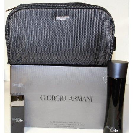 Armani Code By Giorgio Armani 3 Pcs Gift Set With Grooming Bag For Men (Giorgio Armani New)