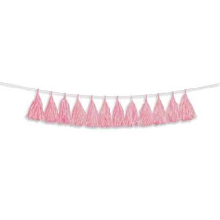 Darice Pink Tissue Tassel Garland, 12 Tassels, 6ft - Tissue Garland