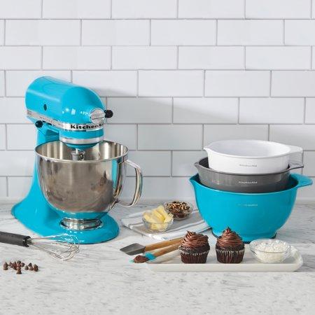 KitchenAid 6 Piece Mixing Bowl and Baking Set Bundle, Ocean Drive Blue