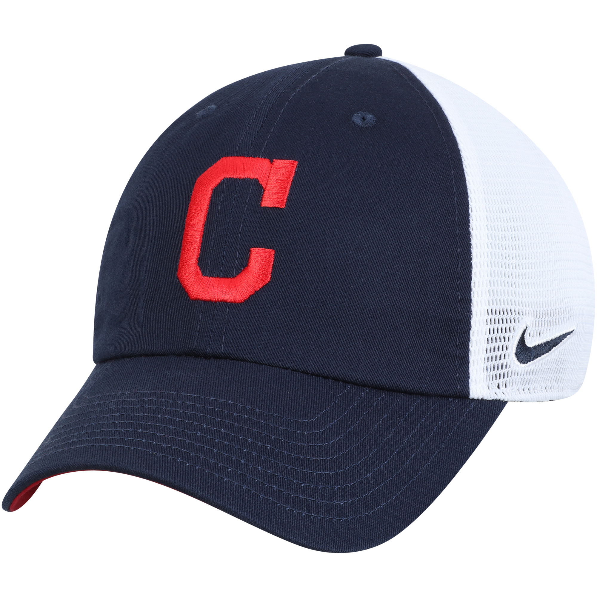 Cleveland Indians Nike Heritage 86 Team Trucker Adjustable Hat - Navy/White - OSFA