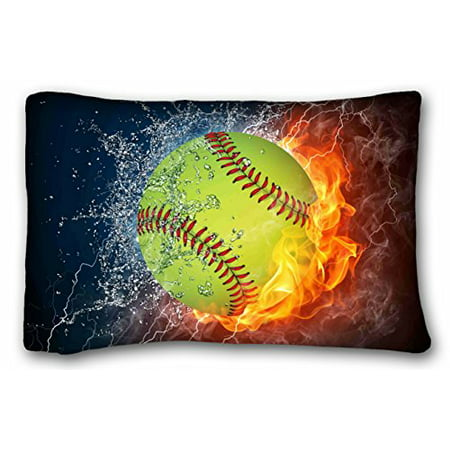 WinHome Custom Softball Art Pattern Pillowcase Cushion Cover Design Standard Size 20x30 Inches Two Sided (Softball Pillowcase)