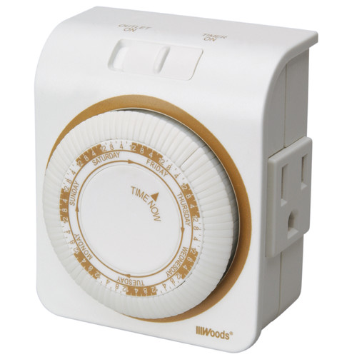Woods 50002 Indoor 7-day Heavy Duty Mechanical Outlet Timer