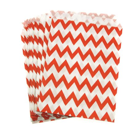 Chevron Paper Treat Bags, 7-Inch, 25-Piece, Red](Red Paper Bags)