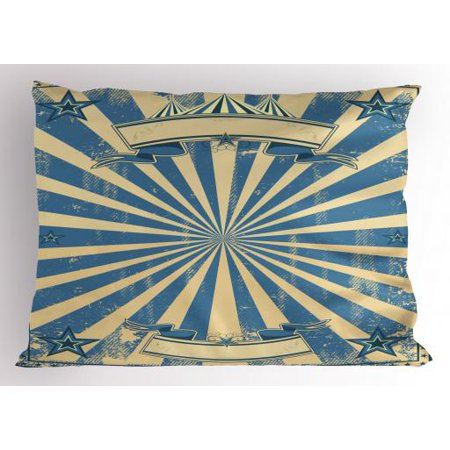 Vintage Blue Pillow Sham Carnival Show Themed Rustic Retro Circus Tent Figure with Starry Frame, Decorative Standard Size Printed Pillowcase, 26 X 20 Inches, Blue and Beige, by Ambesonne (Circus Theme)