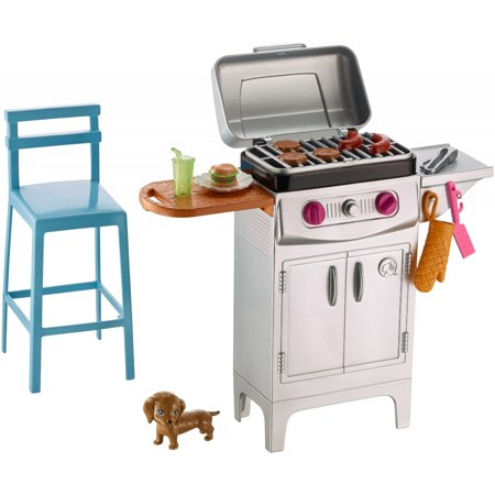 Barbie Theme Party Supplies (Barbie Furniture Set Barbecue Theme with Puppy, Grill, Stool &)