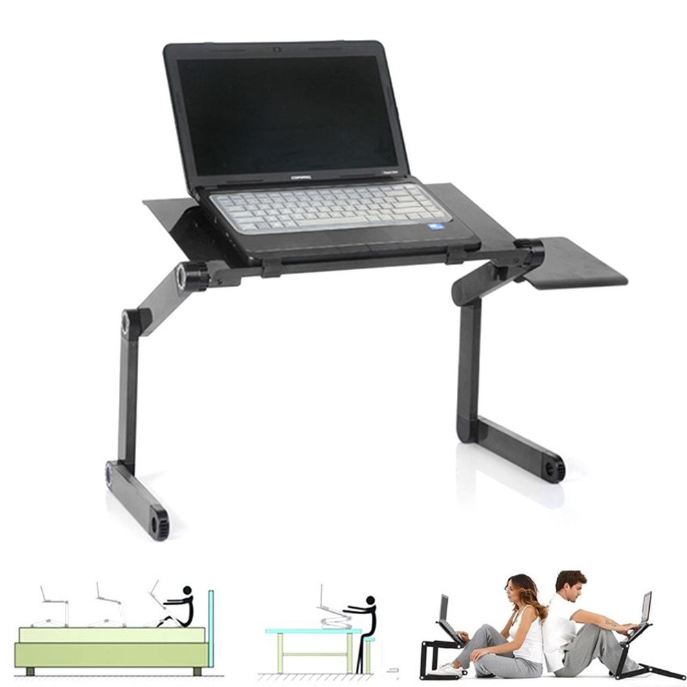 Zimtown 360°Adjustable Foldable Laptop Notebook Desk Table Stand Bed Tray W/ Fan Hole