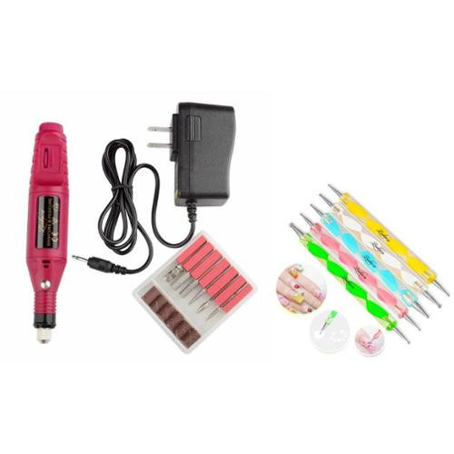 Zodaca Pen Shape Electric Nail Drill Art Salon File Pedicure Tool+5pcs 2 Way Tools Painting Pen Nail Art Paint Tool
