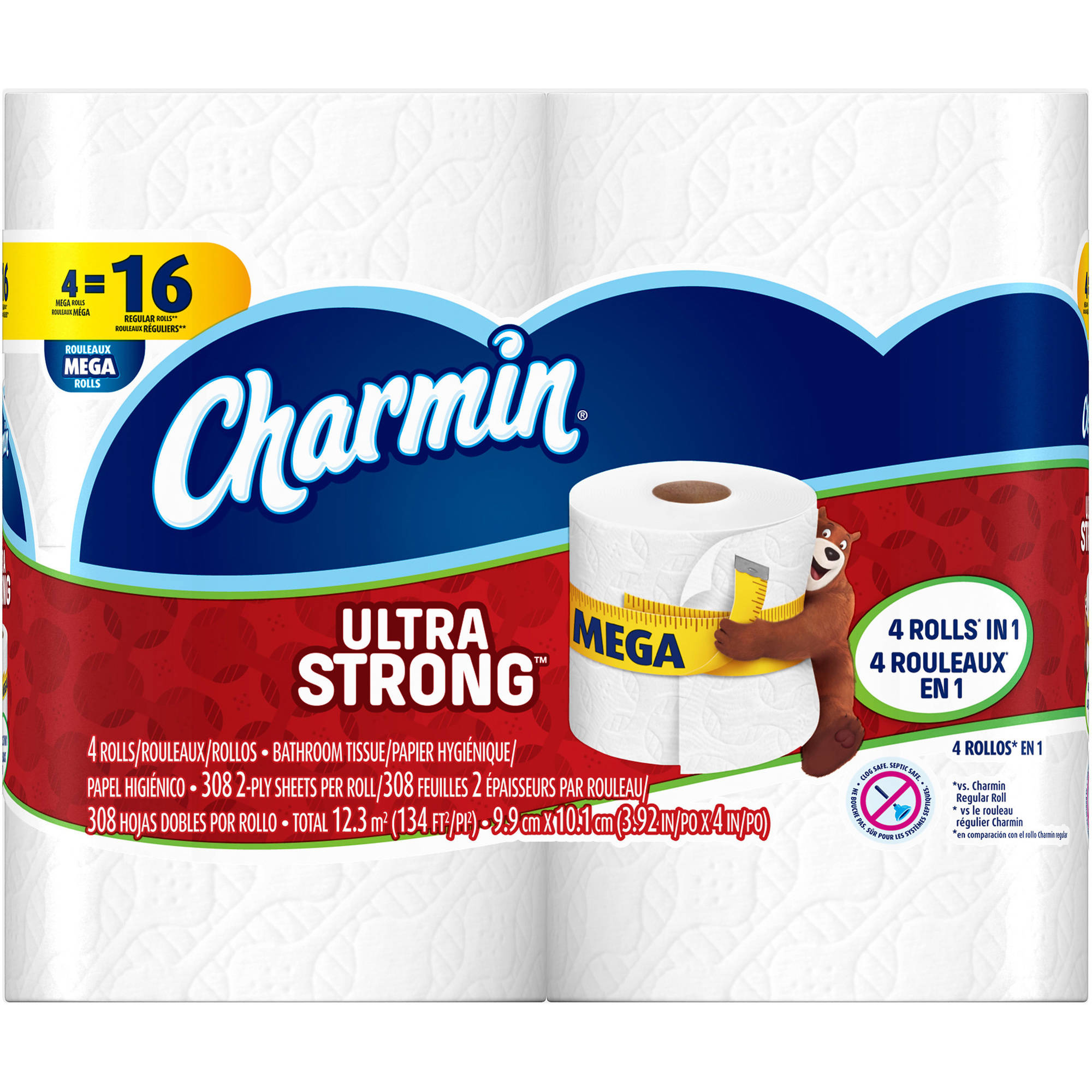 Charmin Ultra Strong Toilet Paper, 4 mega rolls by Generic