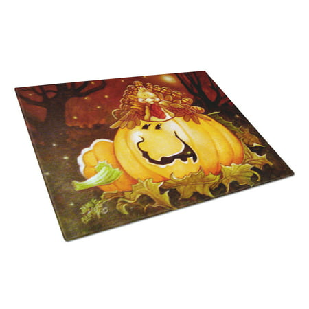 Somebody to Love Pumpkin Halloween Glass Cutting Board Large