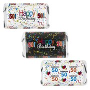 happy 50th birthday party decoration stickers for hersheys miniatures candy bars set of - 50th Birthday Party Decorations