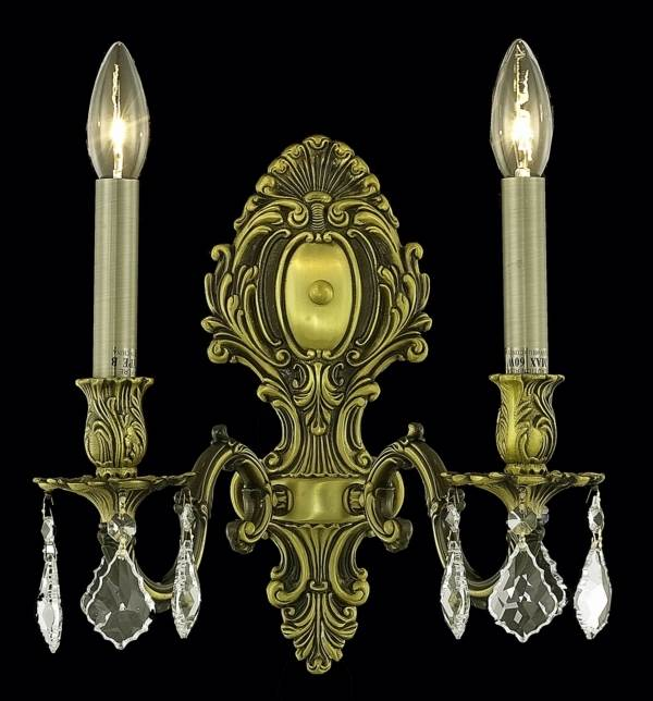 Crystal Sconce with 2 Lights in Antique Bronze (Royal Cut)