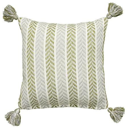 LR Home Tassel Chevron Striped Green / Gray 18