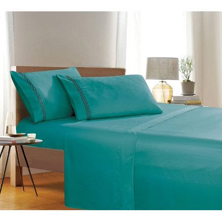 Holiday Gift 4 PC Sheet set Bedding Set Queen Turquoise