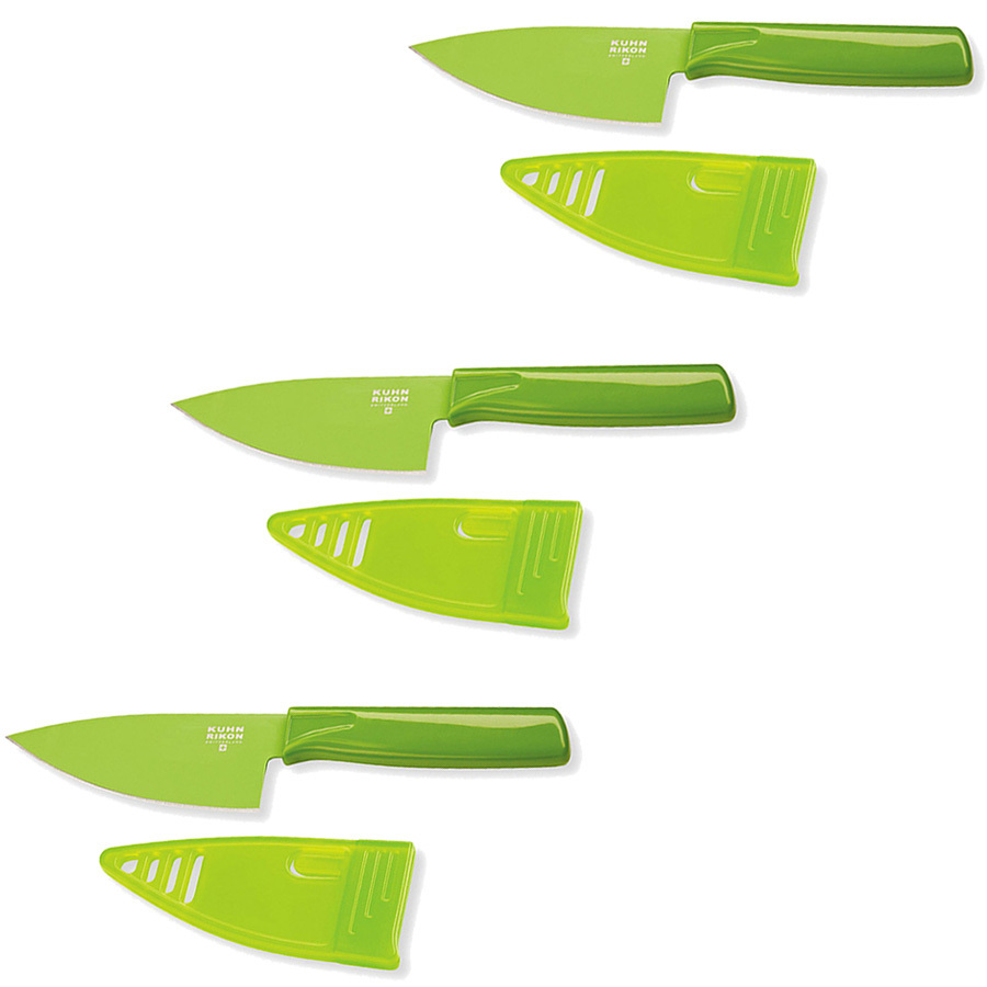 Kuhn Rikon Colori 4-Inch Chef's Knife, Mini, Green - Set of Three
