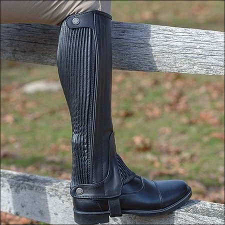 X S TALL SHIRES EQUESTRIAN PEBBLED LEATHER HALF CHAPS W/ ELASTIC CALF ZIPS BLACK (Italian Pebble Calf Leather)