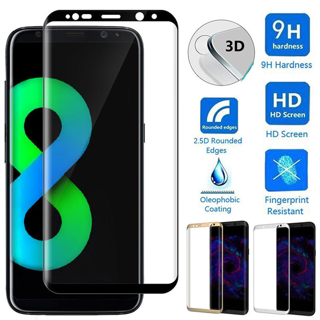 3D Curved Full Cover Tempered Glass Film Screen Protector For Samsung Galaxy S8 S8 Plus
