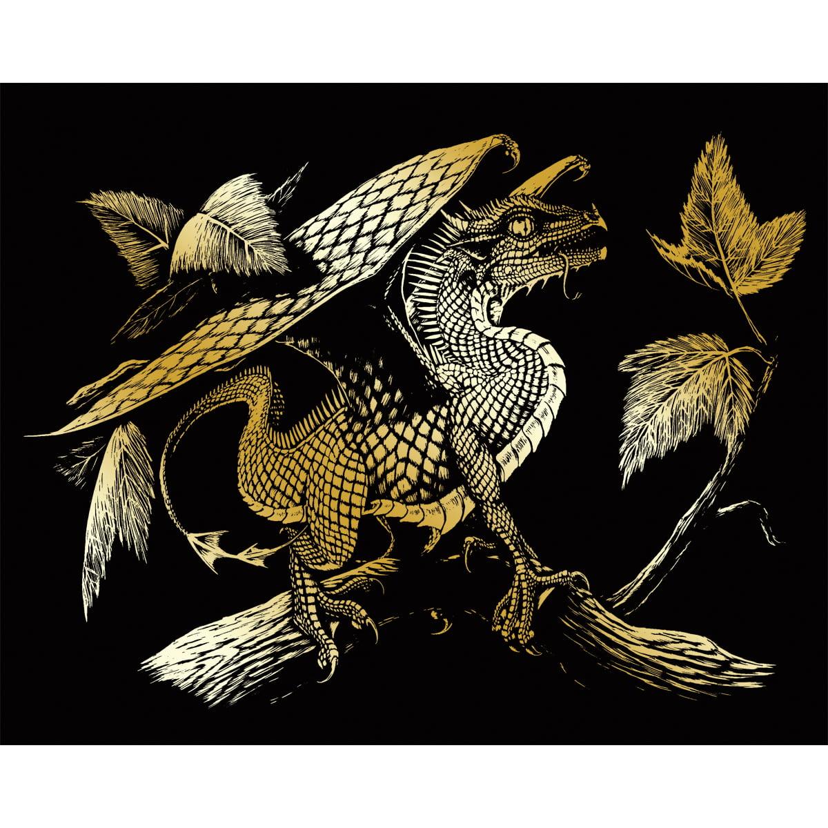 """Gold Foil Engraving Art Kit 8""""X10""""-Baby Dragon"""