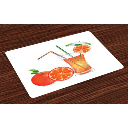 Green and Orange Placemats Set of 4 Glass of Orange Juice with Fruits with Colorful Straws Summertime Theme, Washable Fabric Place Mats for Dining Room Kitchen Table Decor,Multicolor, by - Straw Table