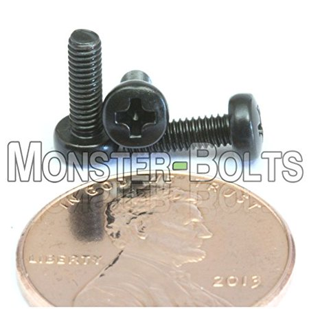 (25) M2.5 - 0.45 x 8mm - Metric Phillips Pan Machine Screw (Type H) Black Oxide Oil - DIN 7985A - MonsterBolts (25, M2.5 x 8mm)