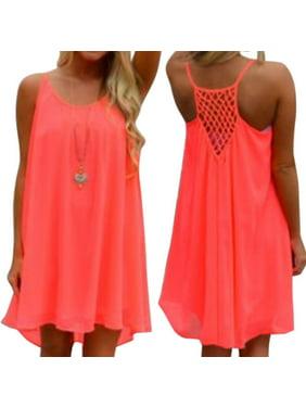 44eaf8e5c580 Product Image Women Sexy Chiffon Short Mini Dresses Loose Blouse Strappy  Summer Beach Sundress Casual Plus Size