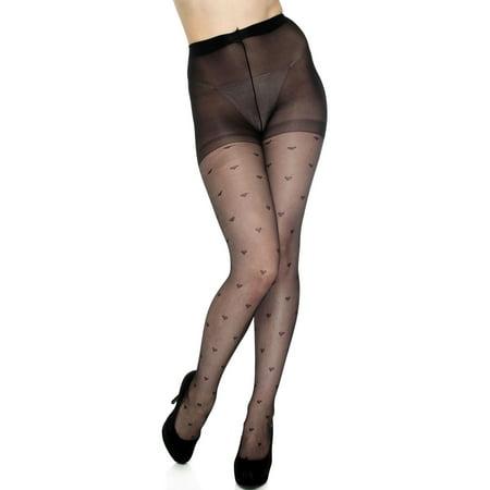 6502a33c1 Simplicity - Sexy Tights Heart Pattern Jacquard Seamless Black Pantyhose  Body Stockings - Walmart.com