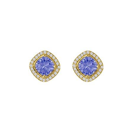 Square Tanzanite CZ Halo Earrings Rhombus Gold Vermeil - image 2 de 2
