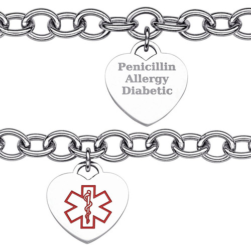 Personalized Women's Stainless Steel Medical ID Engravable Heart Charm Bracelet, 7-1/2""
