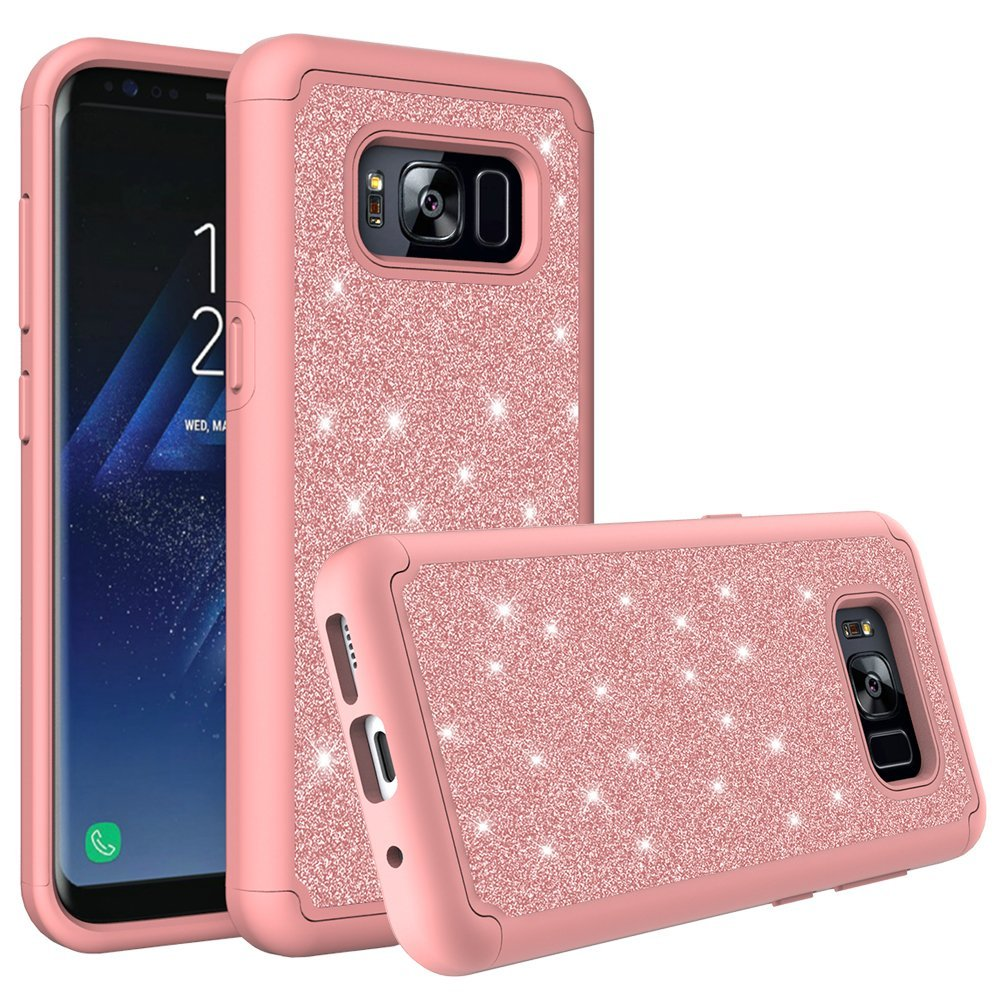 Samsung Galaxy S8 Case, Slim Luxury Glitter Bling Cover w/ [HD Screen Protector] Dual Layer Hybrid Protective Phone Cases - Hot Pink
