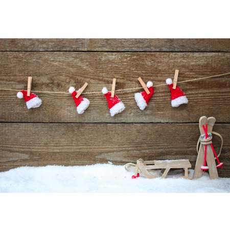 7X5FT Christmas Hat Snow Floor Background Vinyl Photography Backdrop For Studio Photo Prop - Christmas Backgrounds For Photography