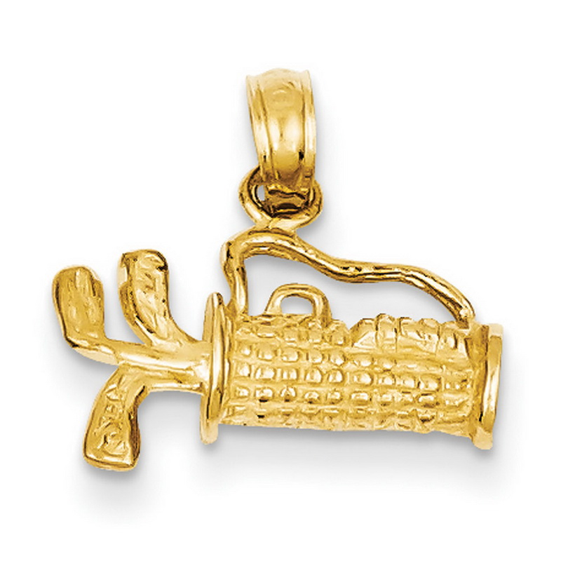 14k Yellow Gold Solid Polished 3-Dimensional Golf Bag with Clubs Charm - Measures 17.1x14.9mm