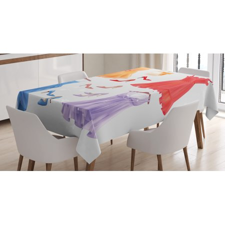 Heels and Dresses Tablecloth, Set of Festive Attire for Party Fashion Female Cocktail Dresses on Hanger, Rectangular Table Cover for Dining Room Kitchen, 52 X 70 Inches, Multicolor, by (70's Dress Attire)