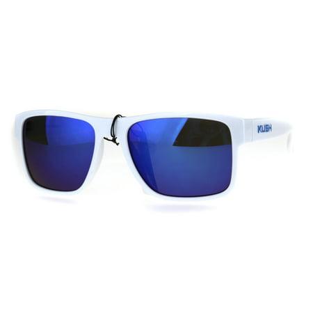 Mens White Kush Color Mirror Rectangular Sport Gangster Sunglasses - Gangsta Sunglasses