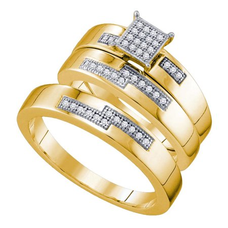 10kt Yellow Gold His & Hers Round Diamond Cluster Matching Bridal Wedding Ring Band Set 1/6 Cttw