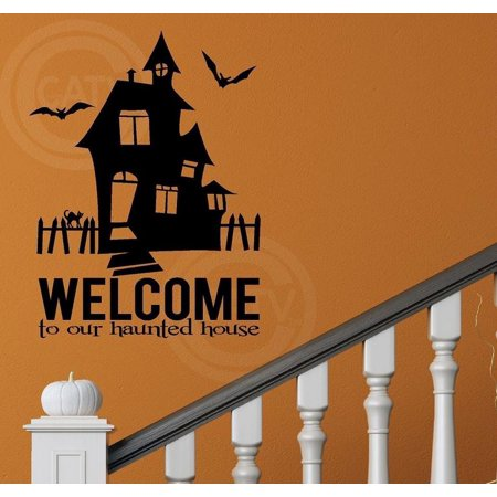 Halloween Welcome To Our Haunted House Wall Sayings Vinyl Lettering Decal Sticker (16