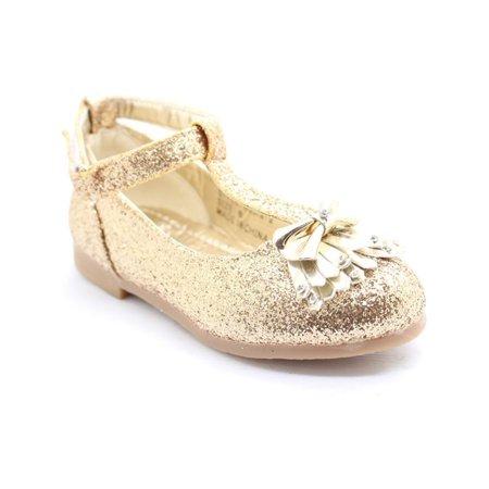Little Girls Gold Glitter Bow Adorned T-Strap Dress Shoes - Glitter Shoes Girls