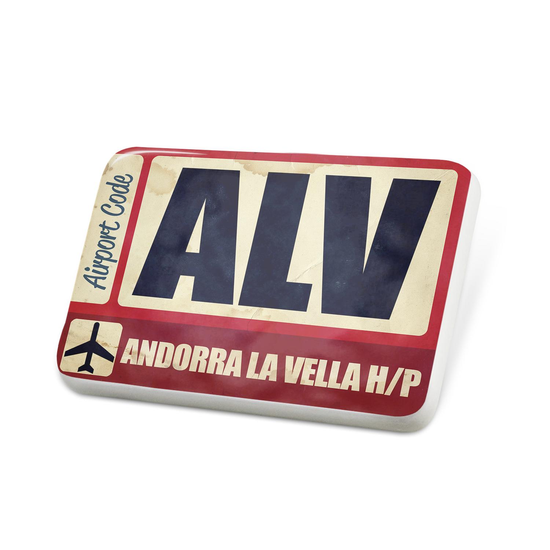 Porcelein Pin Airportcode ALV Andorra La Vella H/P Lapel Badge – NEONBLOND