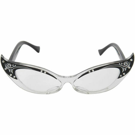 Vintage Cat Eye Glasses Adult Halloween Costume Accessory (Halloween Cat Face Makeup Adults)