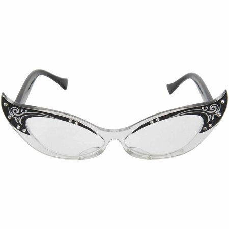 Vintage Cat Eye Glasses Adult Halloween Costume Accessory (Vintage Halloween Cat Face)