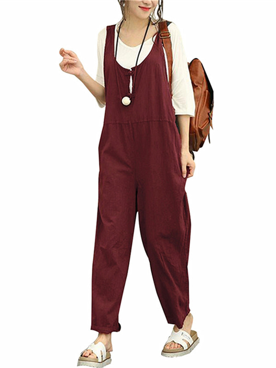 Women's Pants Fashion Solid Color Cotton Linen Jumpsuits