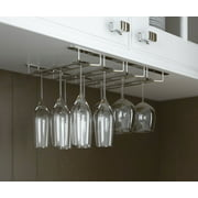 wallniture stemware glass rack wine glasses under cabinet chrome finish - Hanging Wine Glass Rack